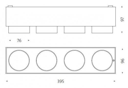 Mawa Wittenberg 4.0 Deckenleuchte halbbündig 4-flammig LED Grafik