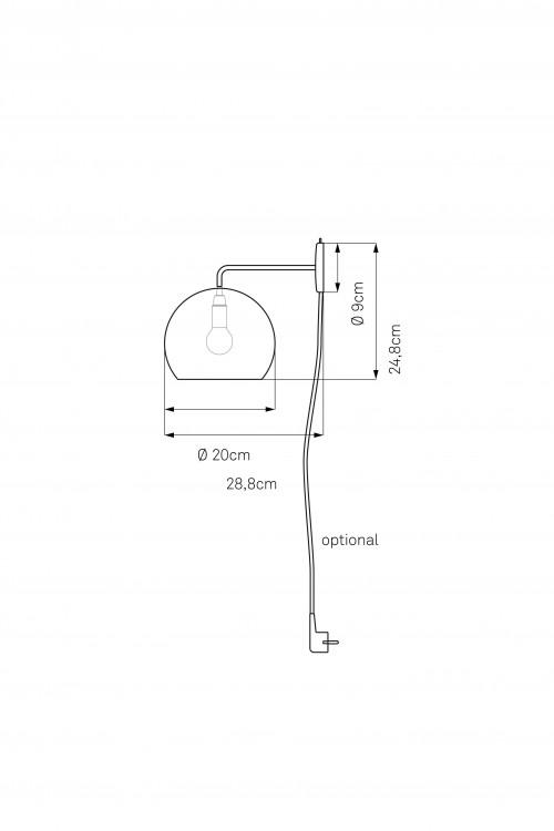 Nyta Tilt Globe Wall mit Kabel Grafik