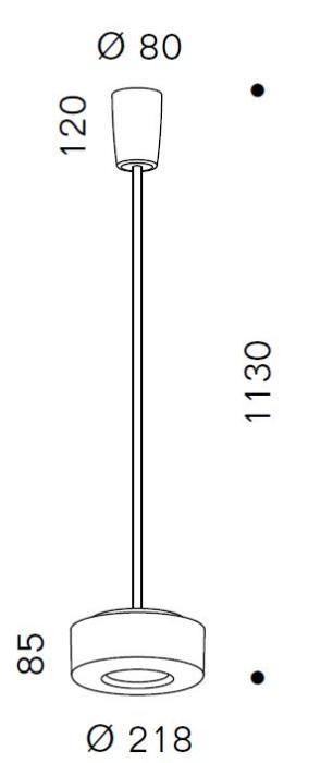 Serien Lighting Curling Suspension Tube Acryl klar / konisch opal M Grafik