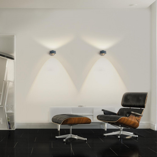 Top Light Puk Wall LED Linse/Glas anthrazit