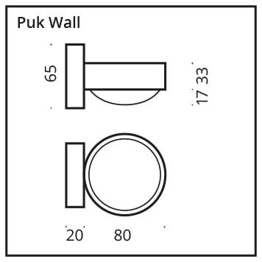 Top Light Puk Wall Halogen Linse/Linse Chrom Grafik