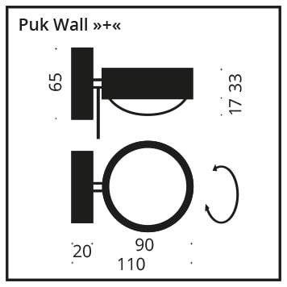 Top Light Puk Wall + Halogen Glas/Glas Grafik