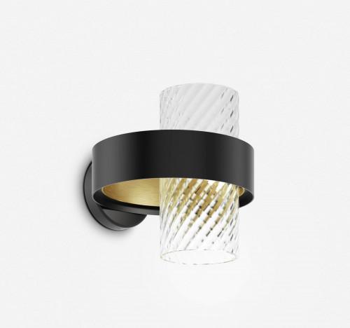 Vistosi Armonia AP 25 Version 1, Glas Kristall, Ring schwarz/Messing