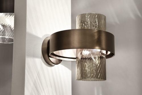 Vistosi Armonia AP 25 Version 4, Glas rauchfarbig, Ring schwarz/Kupfer
