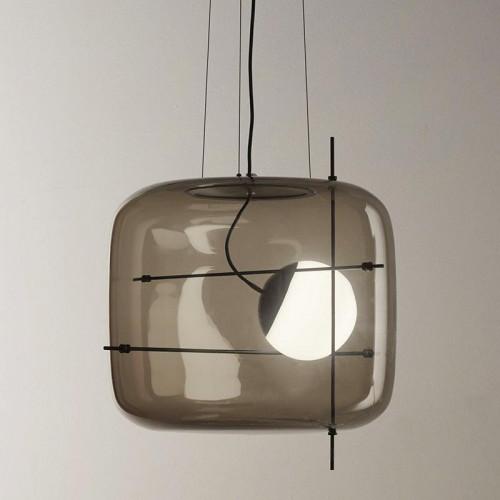 Vistosi Plot Version 2, Glas rauchfarbig, Metallstäbe schwarz
