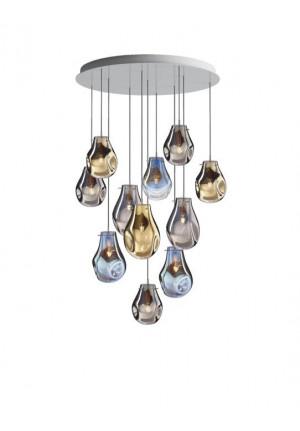 Bomma Soap Kronleuchter mit 11 Leuchten multicolour Version 1, 3 x Large klar, 2 x Large matt, 2 x Small klar, 4 x Small matt