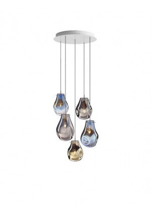 Bomma Soap Kronleuchter mit 5 Leuchten multicolour Version 1, 2 x Large matt, 2 x Small klar, 1 x Small matt
