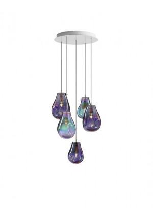 Bomma Soap Kronleuchter mit 5 Leuchten multicolour, 2 x Soap Large purpur, 1 x Soap Large grün, 1 x Soap Small purpur, 1 x Soap Small grün