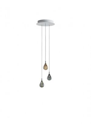 Bomma Soap Mini Kronleuchter mit 3 Leuchten multicolour Version 1, 2 x klar, 1 x matt