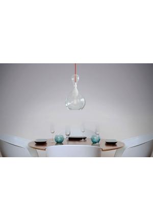 Next Blubb Pendel klar opal mit rotem Kabel