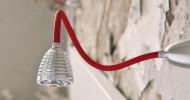 Less'n'more Athene Wand- / Deckenleuchte A-BDL2 Aluminium, flexibler Arm Textil rot